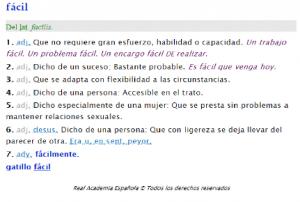Definición de fácil la Real Academia de la Lengua Española