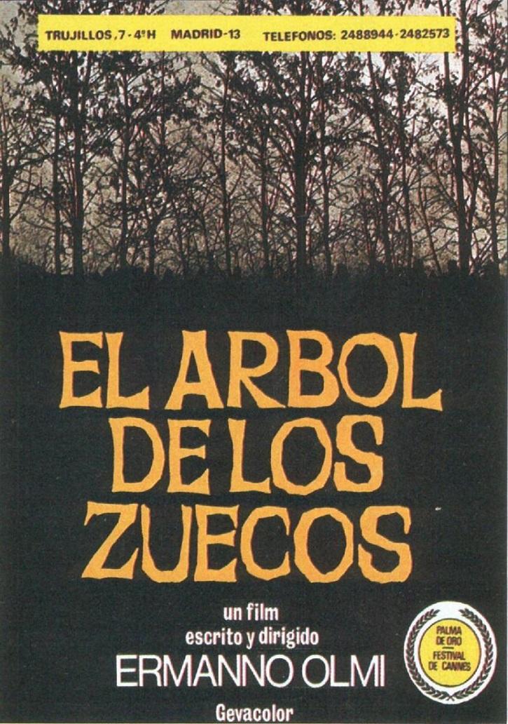 Cartel promocional del filme El árbol de los zuecos, del cineasta italiano Ermanno Olmi