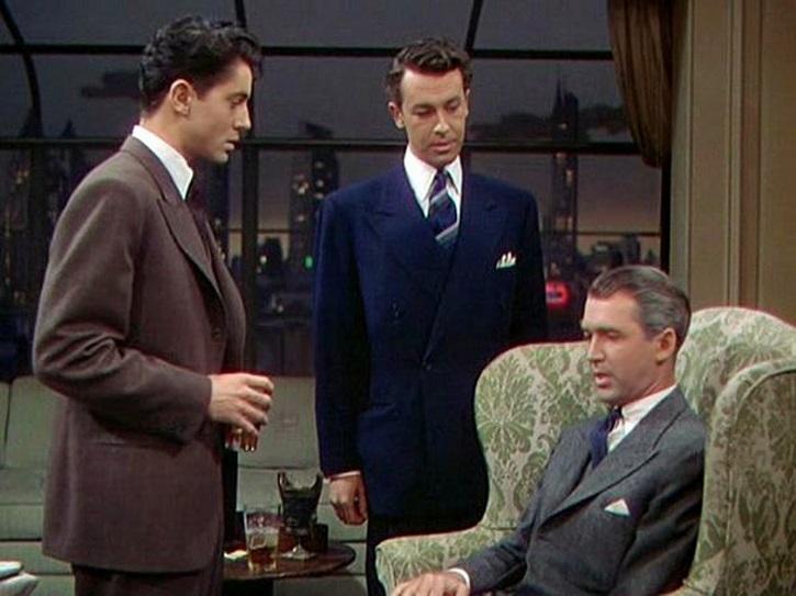 Farley Granger, John Dall y James Stewart en La soga, de Alfred Hitchcock