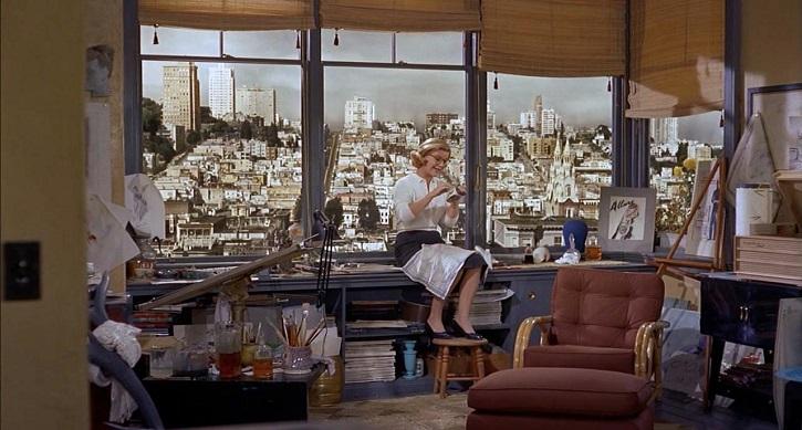 Barbara Bel Geddes en Vértigo, dirigida por Alfred Hitchcock, 1958