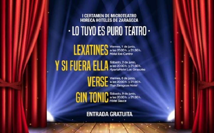 Cartel promocional del I Certamen de Microteatro, Lo tuyo es puro teatro, promovido por Horeca Hoteles de Zaragoza | Euloxio Fernández en I Certamen Microteatro 'Lo tuyo es puro teatro'