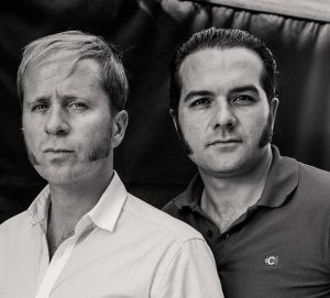 Los actores Alfonso Sánchez y Alberto López (Los Compadres) como maestros de ceremonias