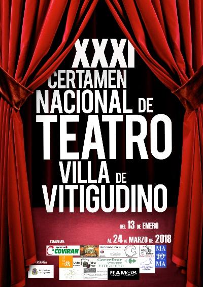 Cartel promocional del XXXI Certamen Nacional de Teatro Villa de Vitigudino, donde el grupo teatral Ateneo de Pozuelo representará En el estanque dorado