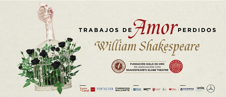Cartel promocional de trabajos de amor perdidos, de William Shakespeare