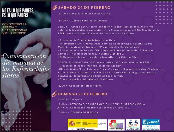 Programa de los actos conmemorativos del Día Mundial de las Enfermedades Raras. En él se cuenta con la participación del grupo de teatro del Ateneo de pozuelo que representará En el estanque dorado