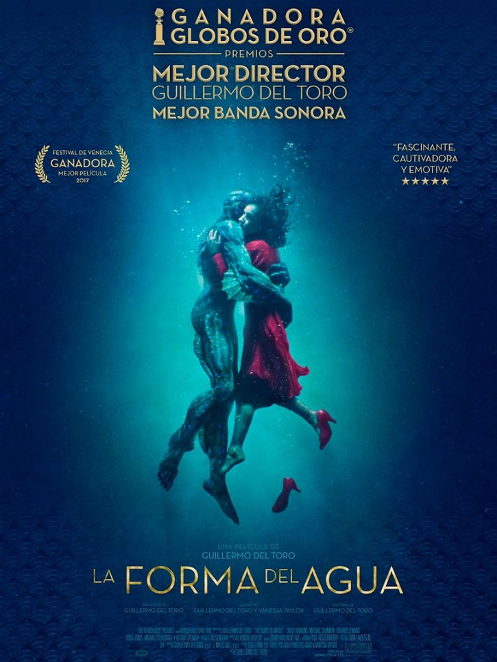 Cartel promocional del laureado filme La forma del agua (The shape of the water), del director mexicano Guillermo del Toro