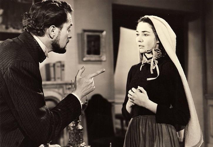 Fotograma del filme La canción de Bernadette, con la oscarizada Jeniffer Jones