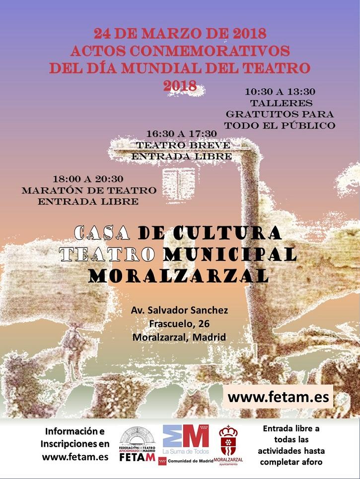 Cartel promocional del Día Mundial del Teatro en Moralzarzal