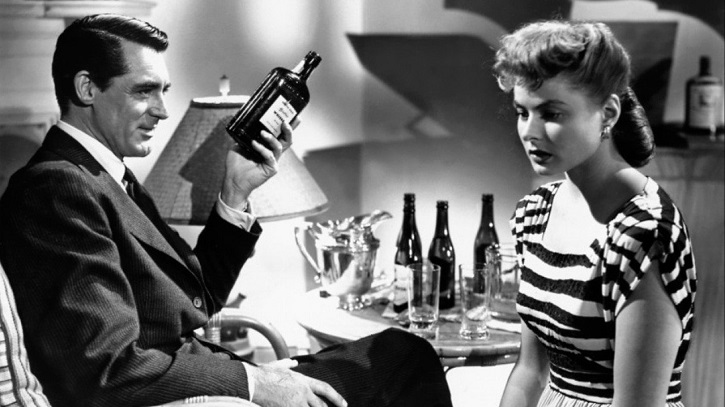 Cary Grant e Ingrid Bergman en un fotograma inicial del filme Encadenados, de Alfred Hitchcock