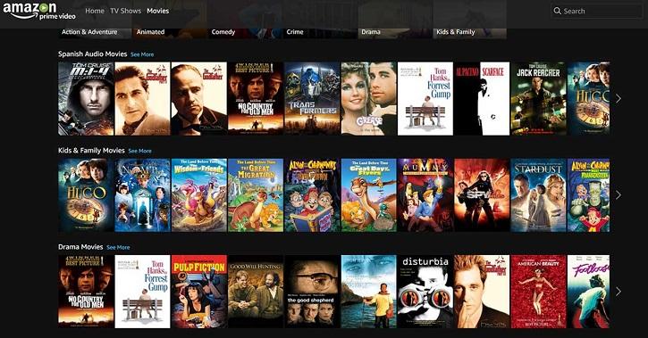 Muestra del catálogo de cine de Amazon. Recordamos que Jeff Bezos (Amazon vídeo) desprecia las películas cristianas