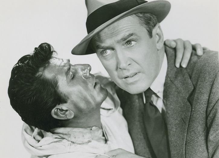 Daniel Gélin y James Stewart en El hombre que sabía demasiado, de Alfred Hitchcock