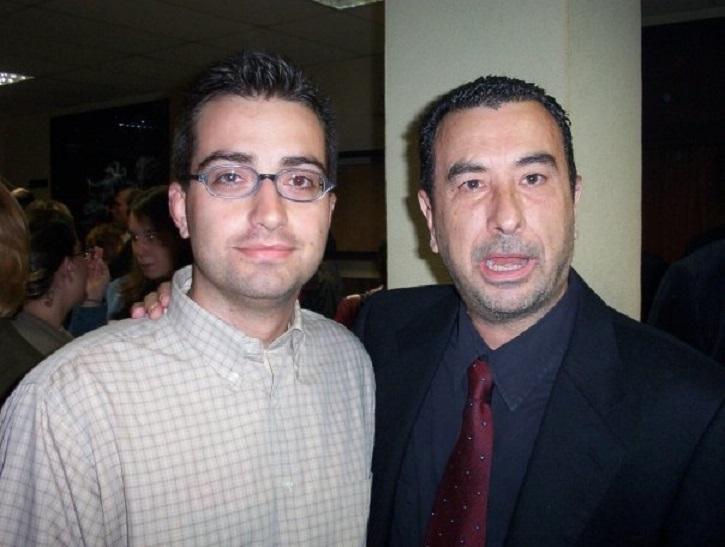 El director de cine José Luis Garci junto al periodista José Luis Panero. 2 de mayo de 1808 en el cine