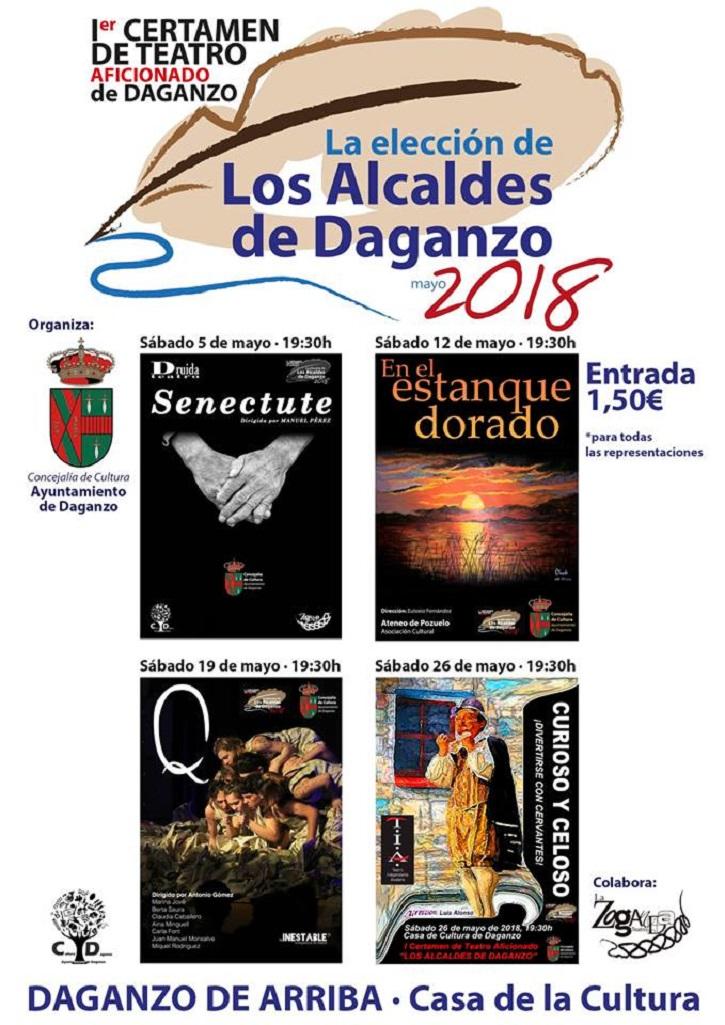 Cartel promocional del I Certamen de Teatro Aficionado de Daganzo en el que participará el grupo de teatro del Ateneo de Pozuelo con la pieza En el estanque dorado