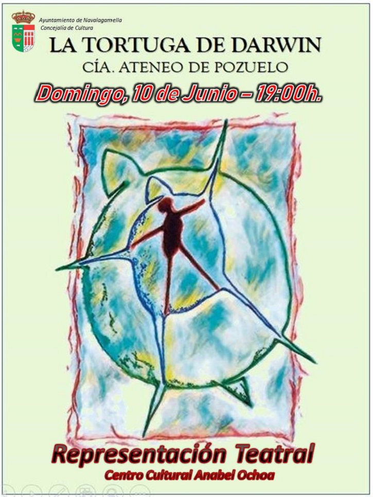 Cartel promocional de la pieza teatral La tortuga de Darwin | Ateneo de Pozuelo escenificará La tortuga de Darwin en Navalagamella