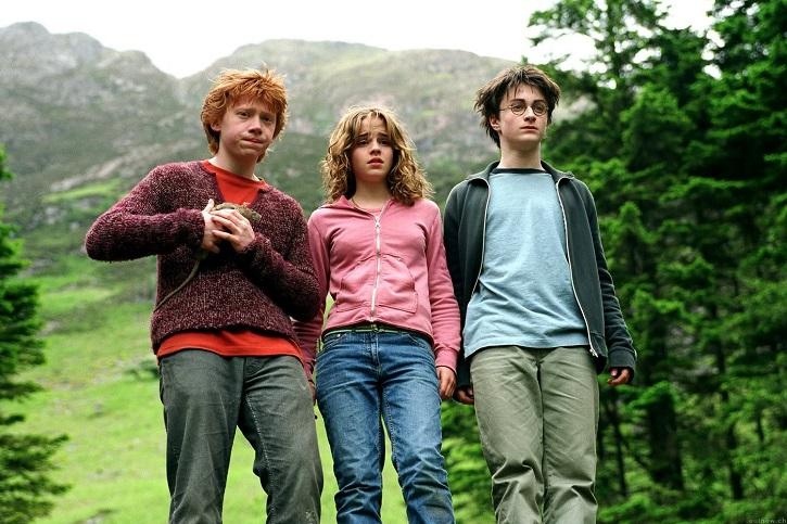 Poderoso fotograma con el trío de amigos protagonista: Daniel Radcliffe, Rupert Grint y Emma Watson | Harry Potter y el Prisionero de Azkabán