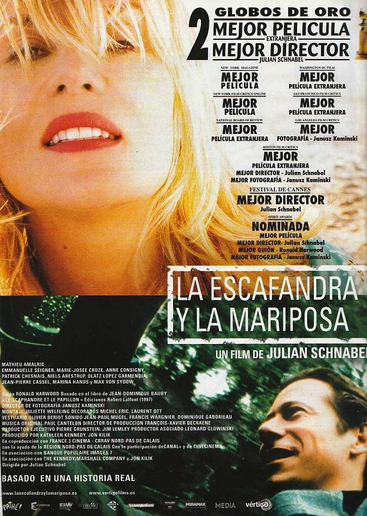 Cartel promocional de la película francesa La escafandra y la mariposa | La eutanasia de Sánchez reaviva el debate en el cine