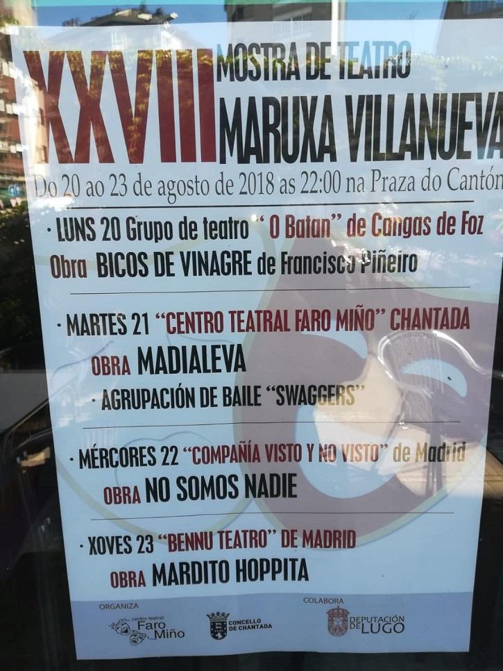 Cartel promocional de la XXVIII Mostra de Teatro Maruxa Villanueva, en Chantada (Lugo) | 'Ateneo de Pozuelo', 'Bennu Teatro' en Festival teatral de Chantada