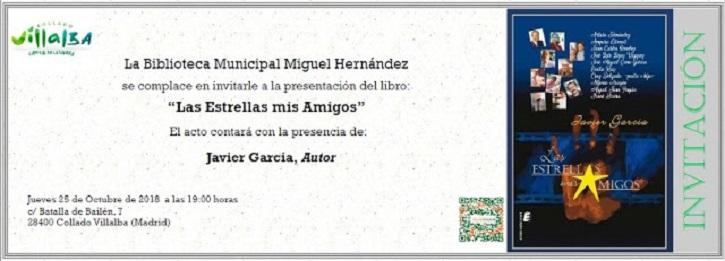 Invitación para la presentación del libro de entrevistas de cine 'Las Estrellas, mis amigos' | Javier García presenta 'Las Estrellas, mis amigos' en Collado Villalba