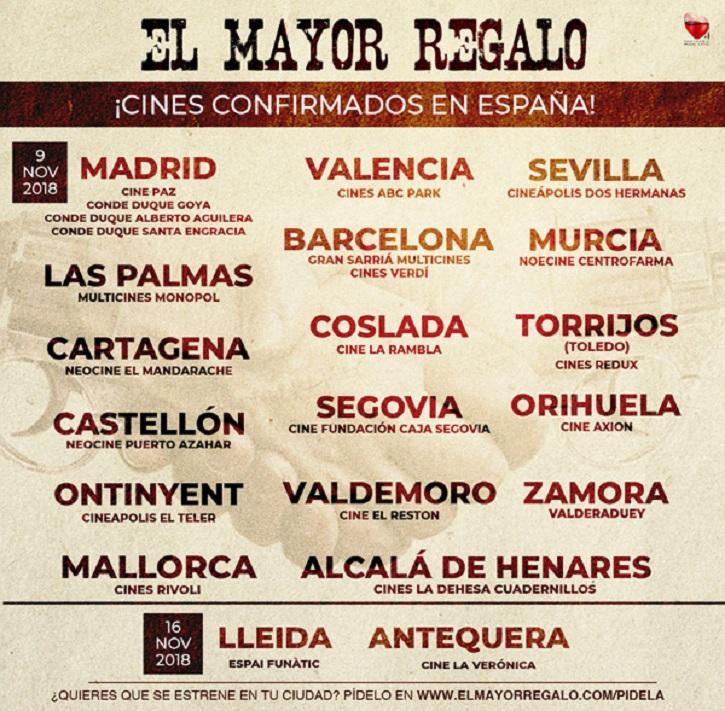 Listado de cines confirmados en España | Juan Manuel Cotelo ha preparado para ti 'El mayor regalo'