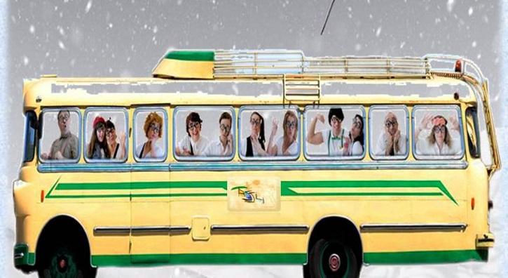 Cartel promocional de la opereta tragicómica Está nevando en la autovía | '13 y martes' y 'Está nevando en la autovía' en La Encina Teatro