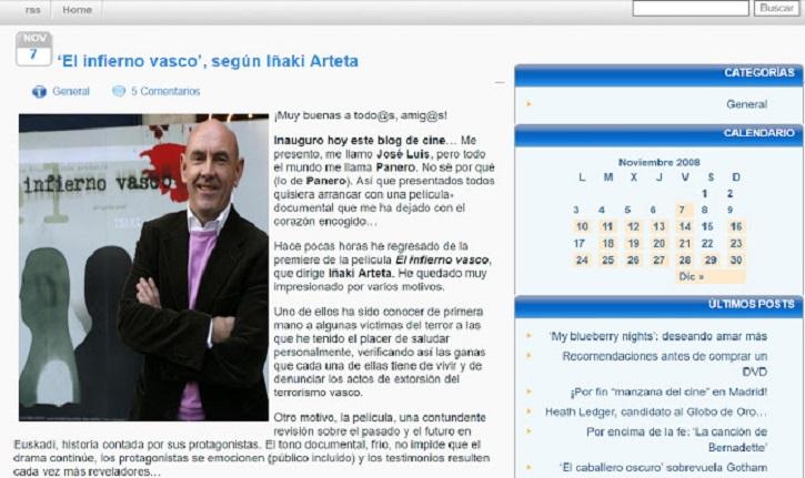 Captura del primer artículo del blog: 7 de noviembre de 2008 | 'Palomitas de Maíz' cumple hoy 10 años: ¡muchísimas felicidades!