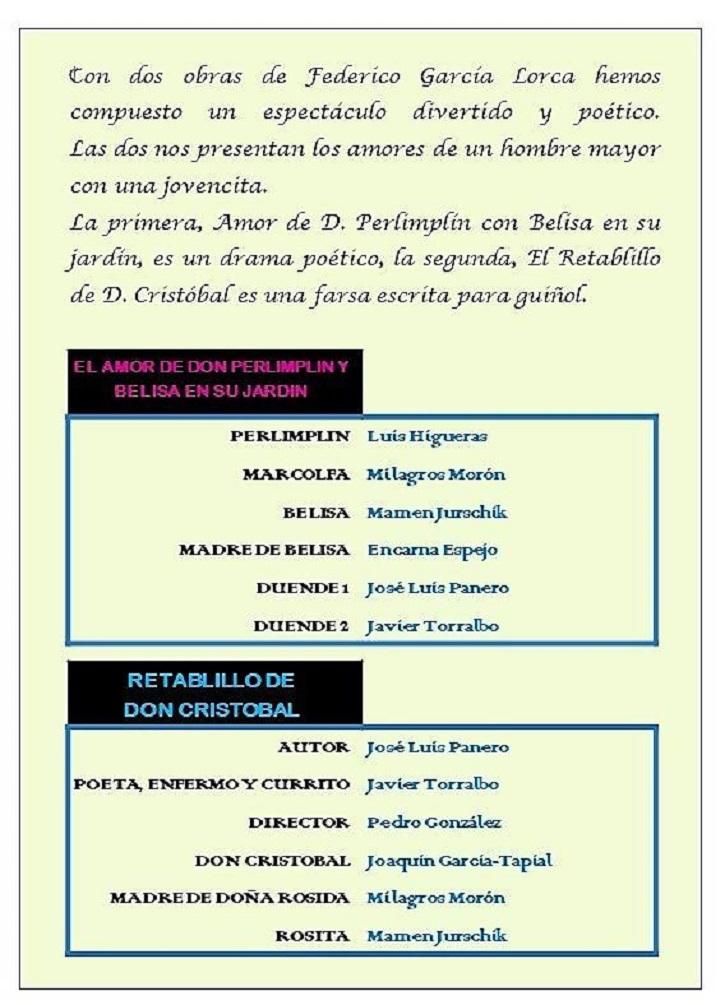 Programa de mano de 'Dos Lorca' | Guadarrama acoge a 'Dos Lorca', representada por 'Ateneo de Pozuelo'