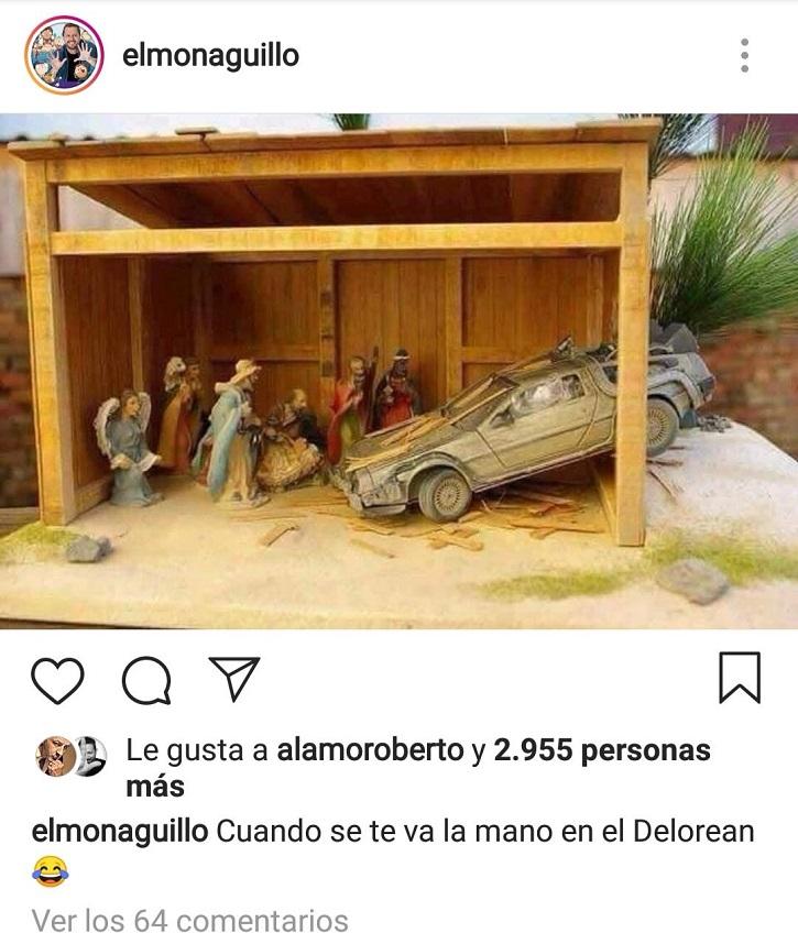 Imagen del DeLorean empotrado en el portal de Belén, publicada por el humorista 'El monaguillo' en su cuenta de Instagram | 'El monaguillo' estrella el DeLorean contra el portal de Belén