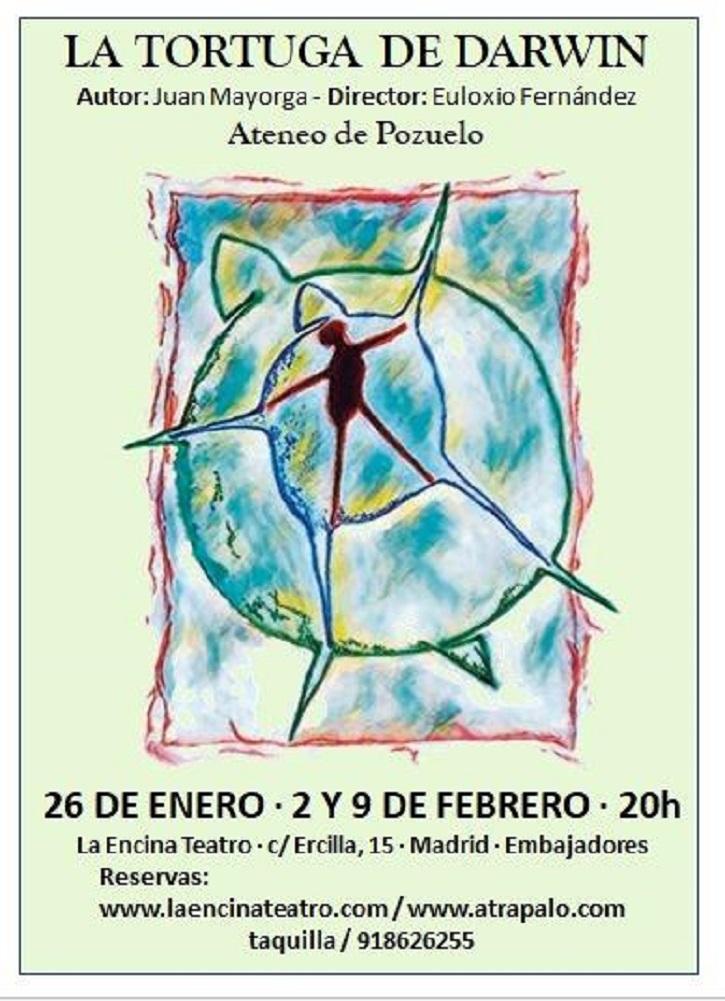 Cartel promocional de la pieza teatral La tortuga de Darwin, de Juan Mayorga, que representará el grupo de teatro del Ateneo de Pozuelo | Ateneo de Pozuelo escenificará La Tortuga de Darwin en La Encina Teatro