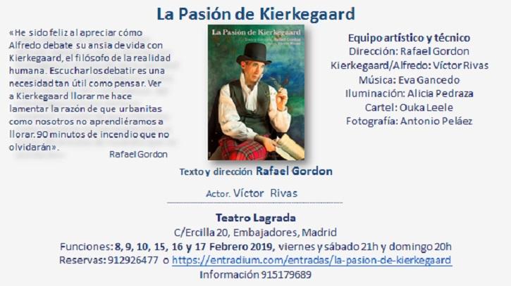 Información y programa de La Pasión de Kierkegaard | Rafael Gordon estrena 'La Pasión de Kierkegaard' en Teatro Lagrada