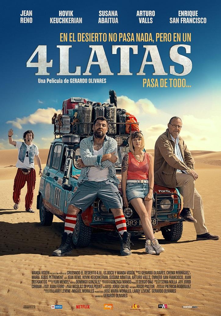 Cartel promocional del filme 4 latas, del cordobés Gerardo Olivares | '4 latas': Floja road-movie de Gerardo Olivares con buenas intenciones