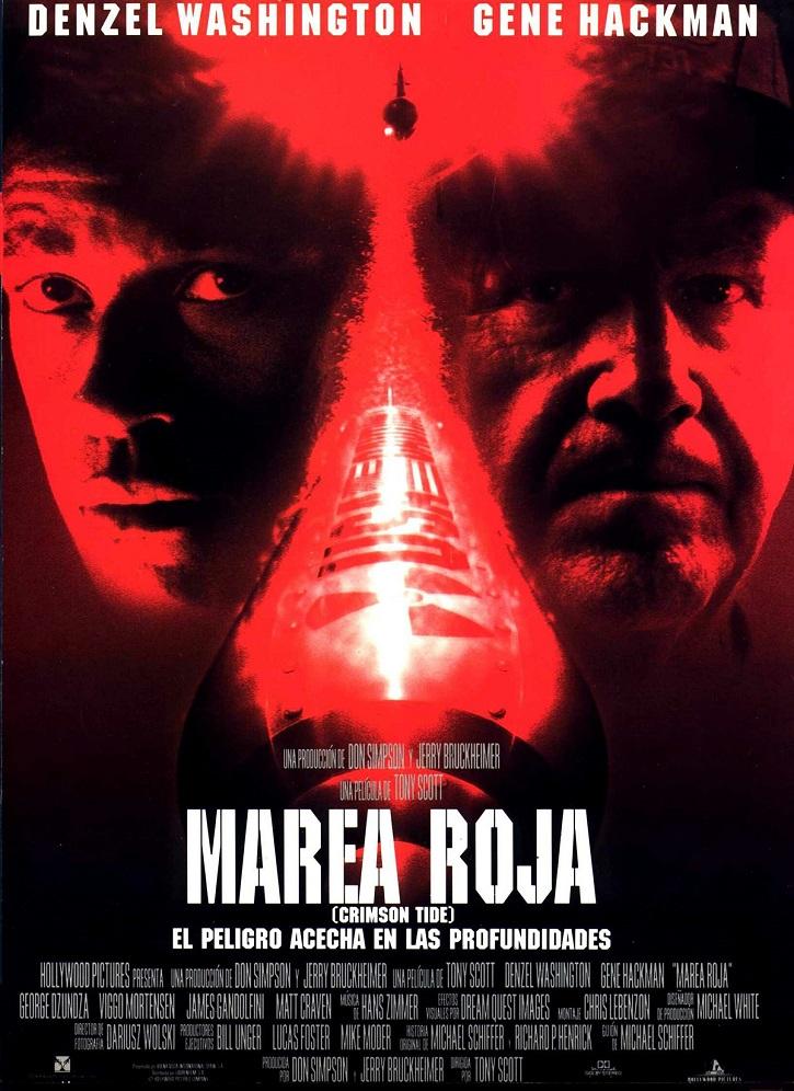 Cartel promocional del filme Marea Roja, de Tony Scott | Tecnos lanza 'La política va al cine': la realidad supera a la ficción