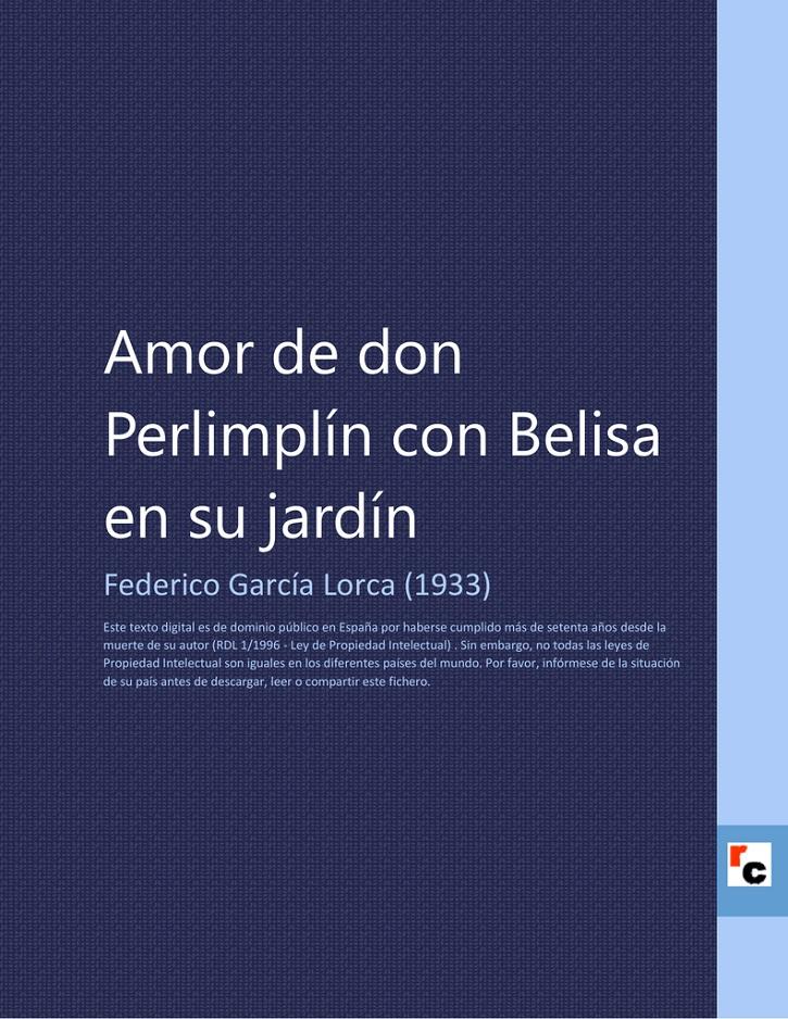 Carátula del libro Amor de don Perlimplín con Belisa en su jardín | Ateneo de Pozuelo representa 'DosLorca' en el Espacio Educarte