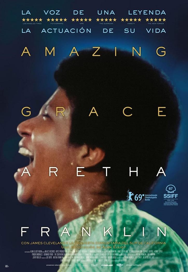 Cartel promocional del filme documental y musical Amazing Grace, dirigido por Sydney Pollack y Alan Elliott | 'Amazing Grace': Sydney Pollack y Alan Elliott resucitan a Aretha Franklin