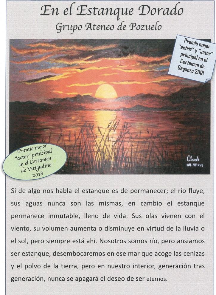 Programa de mano de En el estanque dorado | El Ateneo de Pozuelo abre el XX Certamen de Teatro José María Rodero con 'En el estanque dorado'