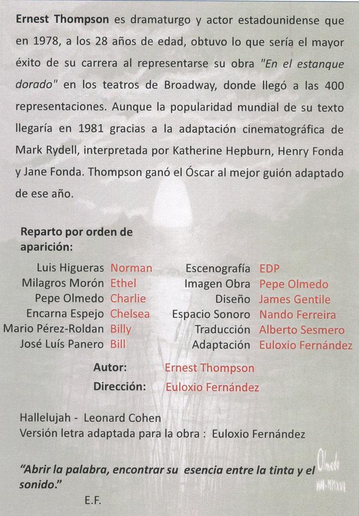 Reverso del programa de mano de En el estanque dorado | El Ateneo de Pozuelo abre el XX Certamen de Teatro José María Rodero con 'En el estanque dorado'