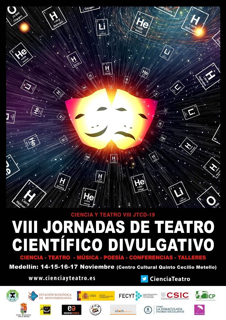 Cartel anunciador de las VIII Jornadas de Teatro Científico Divulgativo | Ateneo de Pozuelo escenificará La Tortuga de Darwin en Badajoz