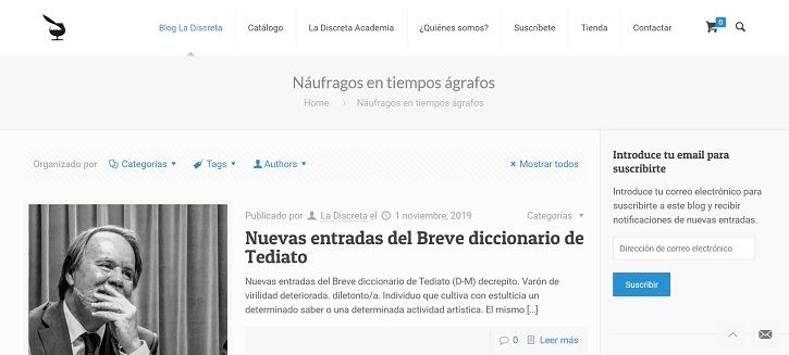 Blog La Discreta | La editorial 'La Discreta' celebra sus 20 años de naufragio