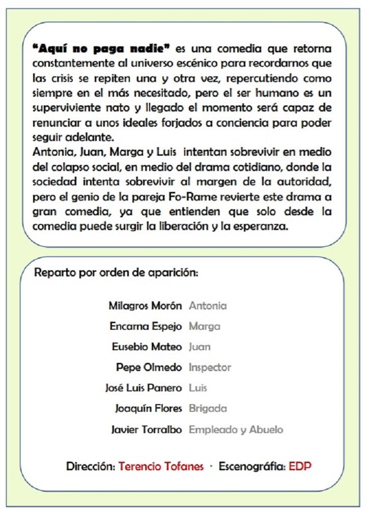 Programa de mano de Aquí no paga nadie | Ateneo de Pozuelo representa 'Aquí no paga nadie' en Guadarrama