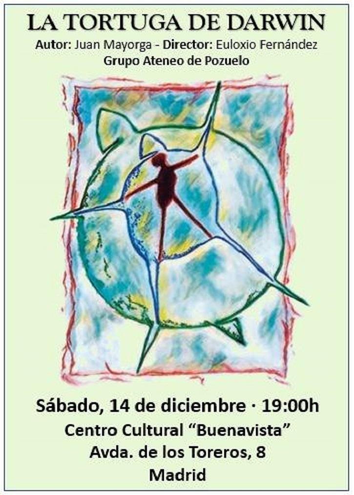 Cartel promocional de la pieza teatral de Juan Mayorga, La Tortuga de Darwin, dirigida por Euloxio Fernández | Ateneo de Pozuelo representará La Tortuga de Darwin en CC Buenavista