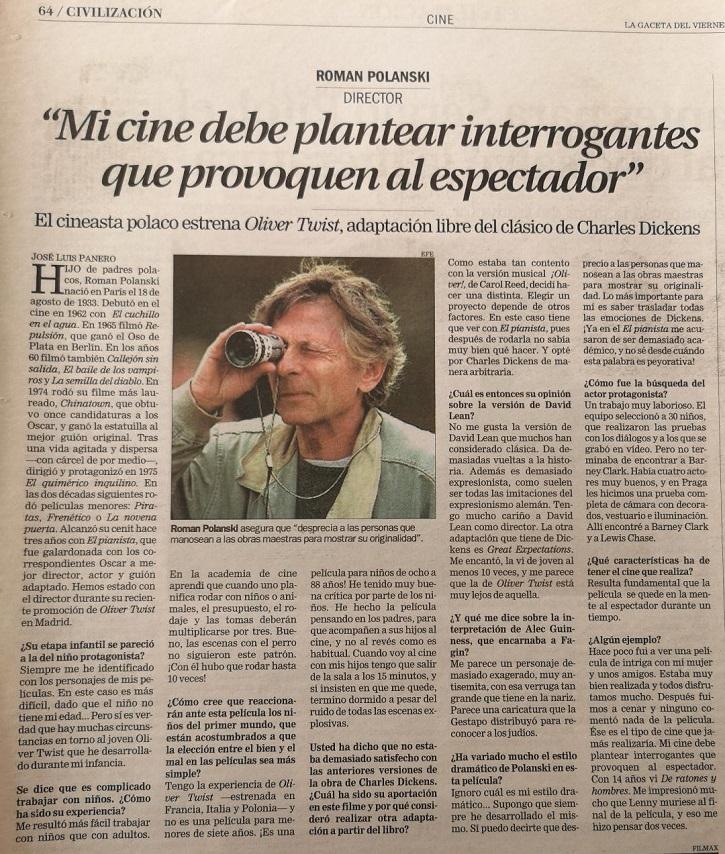 Entrevista de José Luis Panero a Roman Polanski | 'El oficial y el espía': Roman Polanski mantiene intacto su talento