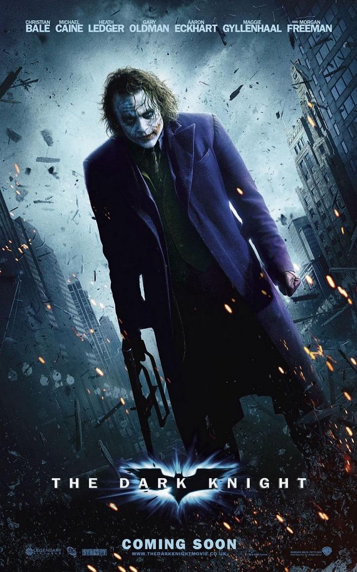 Uno de los carteles promocionales de El caballero oscuro | ¿Joaquin Phoenix ('Joker') o Heath Ledger ('El caballero oscuro')?