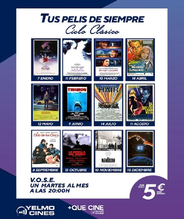 Cartel promocional con las películas de cine programadas por los Yelmo Cines | 'Fantasía' inaugura el ciclo de cine clásico y de culto de Yelmo Cines