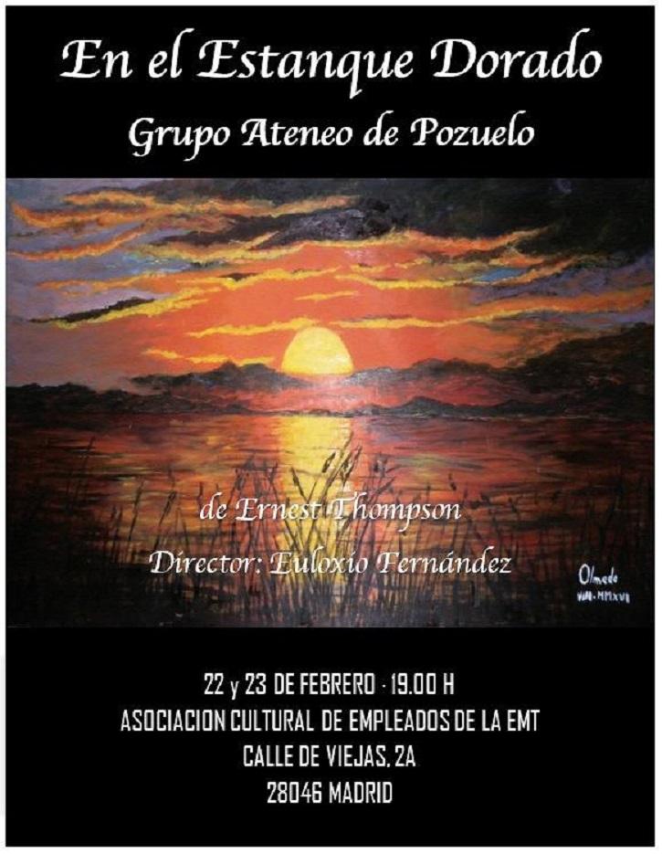 Cartel promocional de En el estanque dorado a cargo del grupo de teatro del Ateneo de Pozuelo | 'En el estanque dorado' llega a la EMT con el Ateneo de Pozuelo