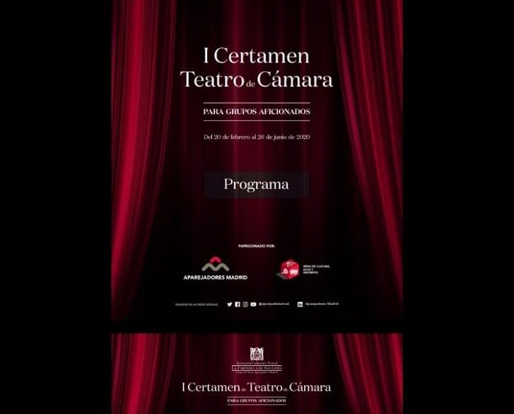 Cartel del I Certamen de Teatro de Cámara, promocionado por el Colegio de Aparejadores de Madrid, donde participará el Ateneo de Pozuelo con En el estanque dorado | 'En el estanque dorado' llega a la EMT con el Ateneo de Pozuelo