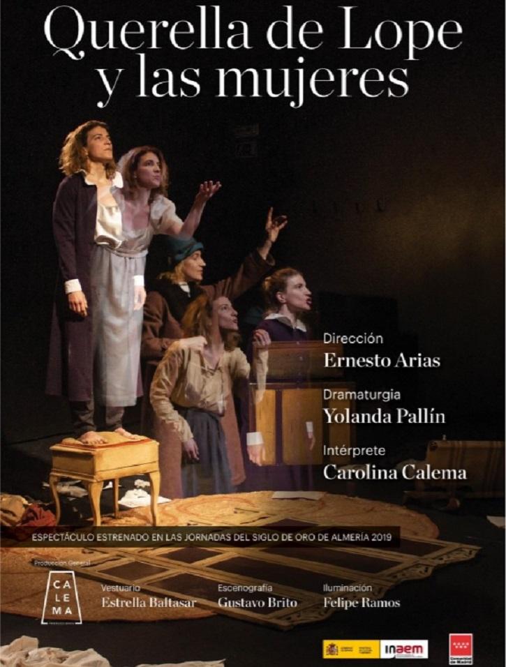 Cartel promocional de Querella de Lope y las mujeres | Carolina Calema brilla en Arapiles 16 con 'Querella de Lope y las mujeres'