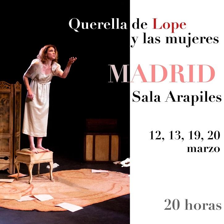 Cartel promocional con las funciones pendientes en Madrid | Carolina Calema brilla en Arapiles 16 con 'Querella de Lope y las mujeres'