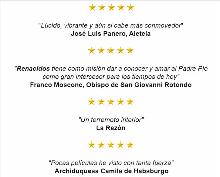 Críticas de prensa tras el estreno de Renacidos el 15 de noviembre de 2019 | 'Renacidos: El Padre Pío cambió sus vidas', online el 8 de abril