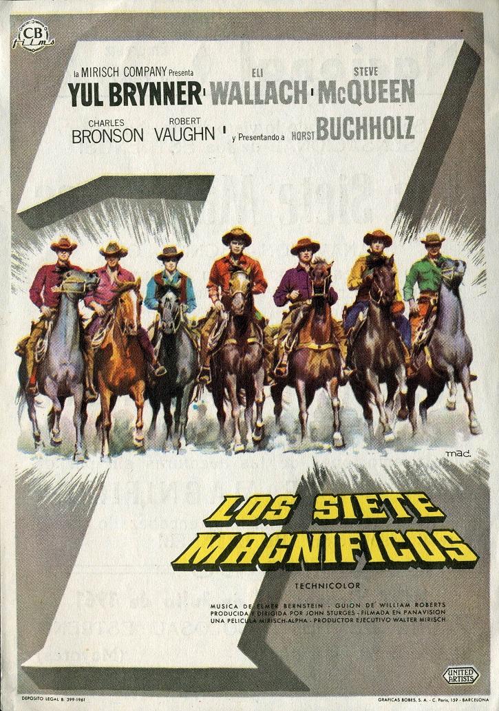 Cartel promocional de Los siete magníficos (1960) | ¿Son 'Los siete samuráis' mejores que 'Los siete magníficos'?
