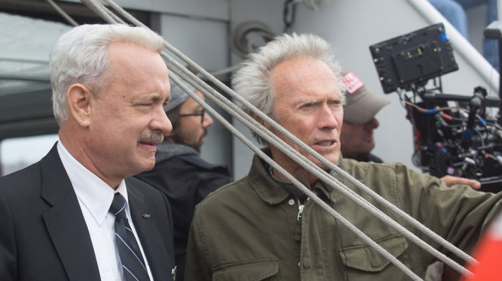 Tom Hanks y Clint Eastwood, durante el rodaje de Sully