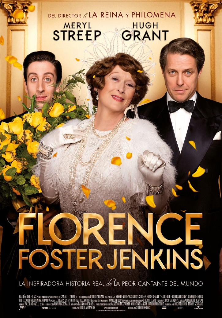 Cartel promocional del filme Florence Foster Jenkins | Florence Foster Jenkins: Épico biopic de Stephen Frears con Meryl Streep